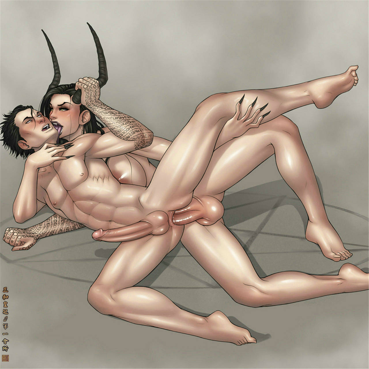 Hentia male demon and human girl sex scene