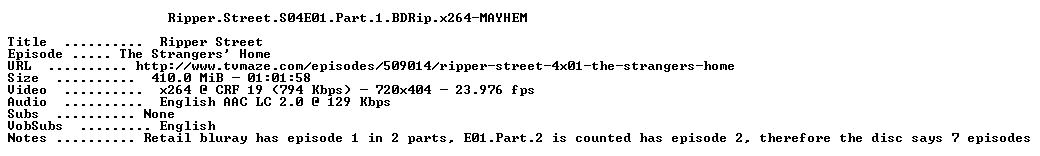 Ripper Street S04E01 Part 1 BDRip x264-MAYHEM