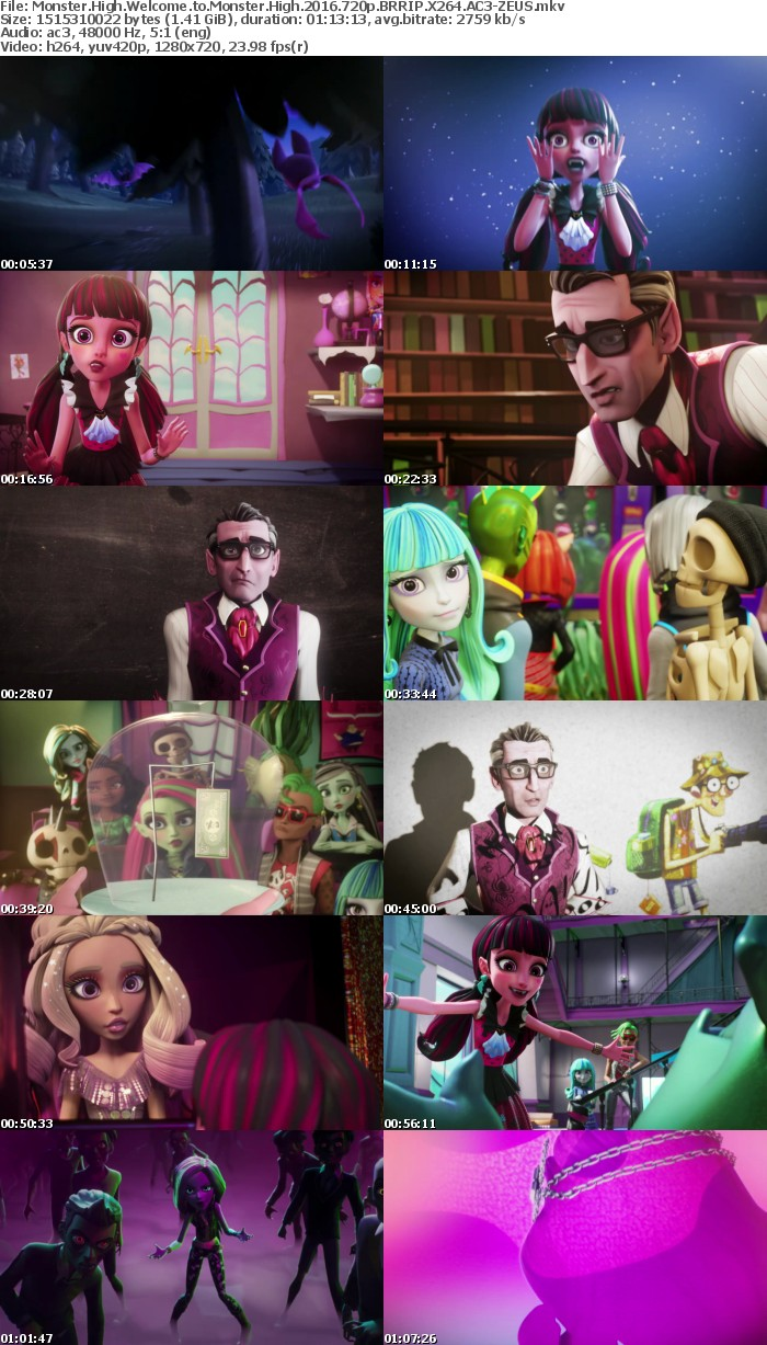 Monster High Welcome to Monster High 2016 720p BRRIP X264 AC3-ZEUS