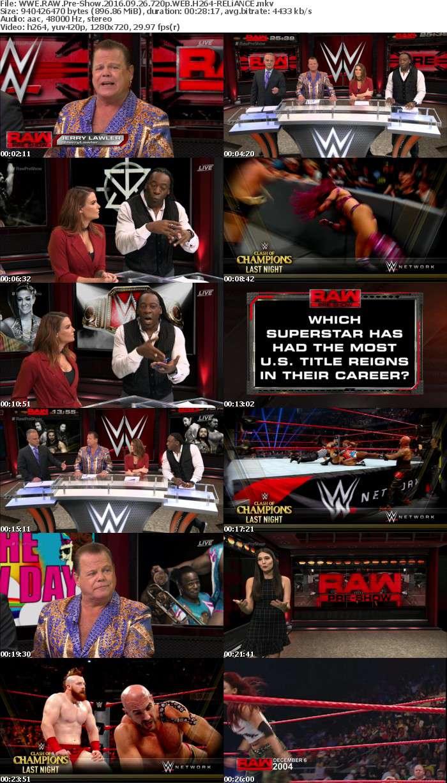 WWE RAW Pre-Show 2016 09 26 720p WEB H264-RELiANCE