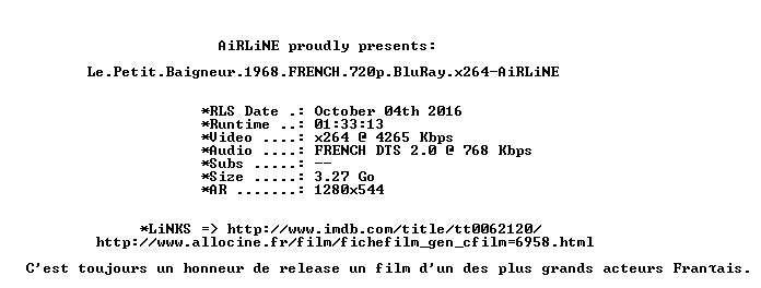 Le Petit Baigneur 1968 FRENCH 720p BluRay x264-AiRLiNE