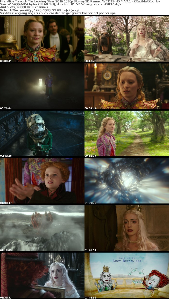 Alice Through The Looking Glass 2016 1080p Blu-ray 3D Remux AVC DTS-HD MA 7 1 - KRaLiMaRKo