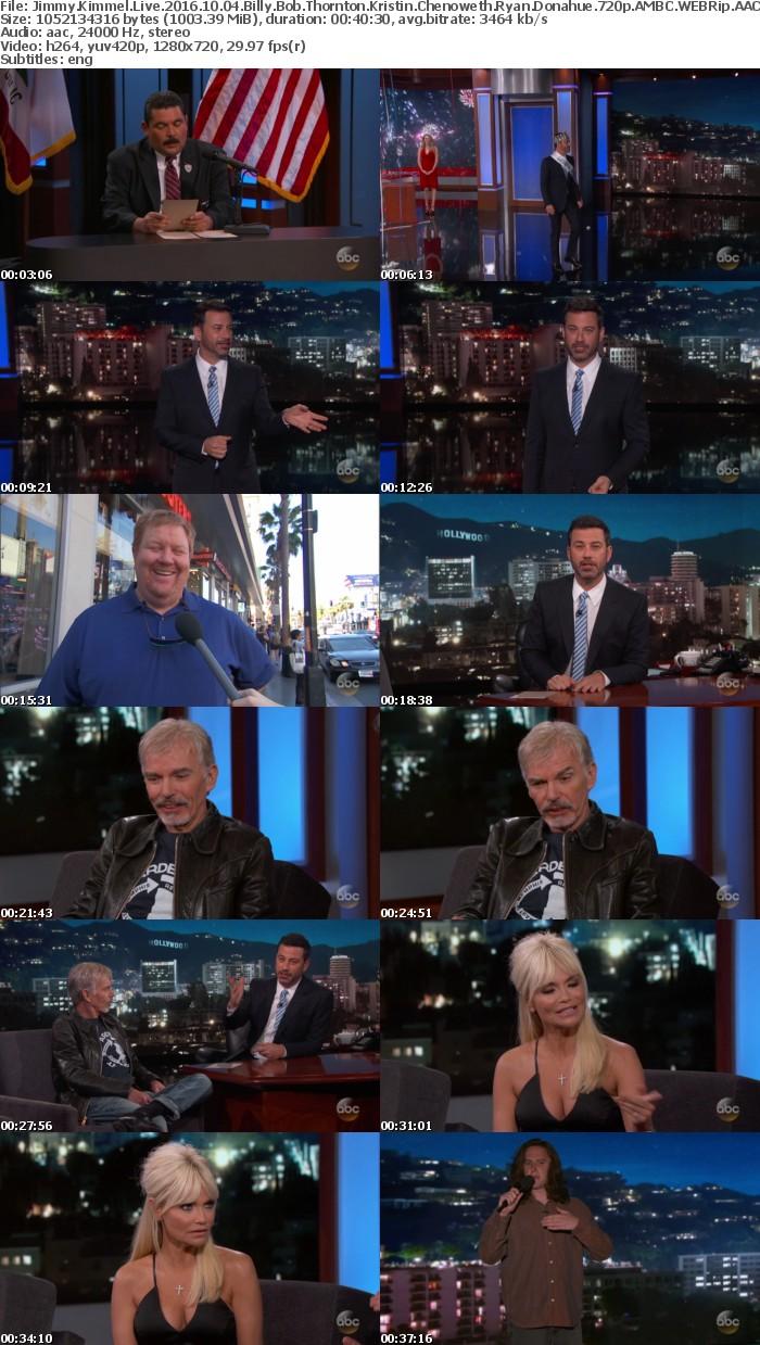 Jimmy Kimmel Live 2016 10 04 Billy Bob Thornton Kristin Chenoweth Ryan Donahue 720p AMBC WEBRip AAC2 0 x264-monkee