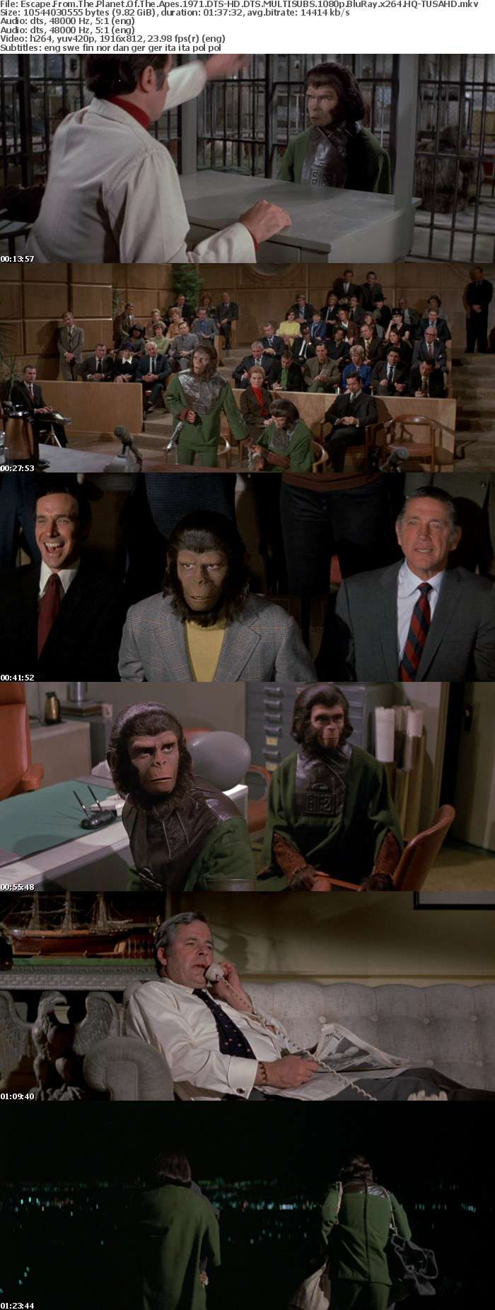 Escape From The Planet Of The Apes 1971 DTS-HD DTS MULTISUBS 1080p BluRay x264 HQ-TUSAHD