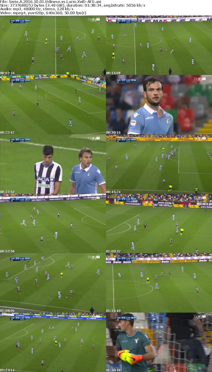 Serie A 2016 10 01 Udinese vs Lazio XviD-AFG