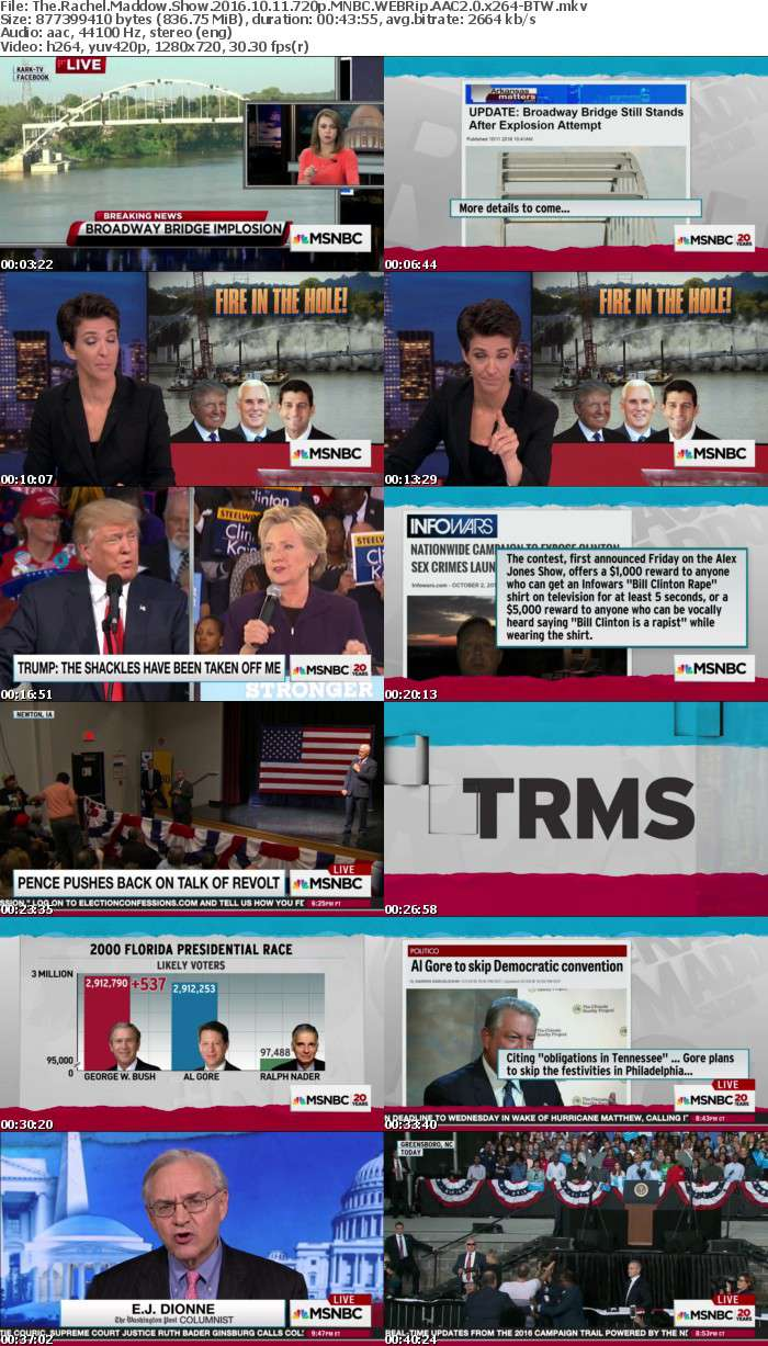 The Rachel Maddow Show 2016 10 11 720p MNBC WEBRip AAC2 0 x264 BTW