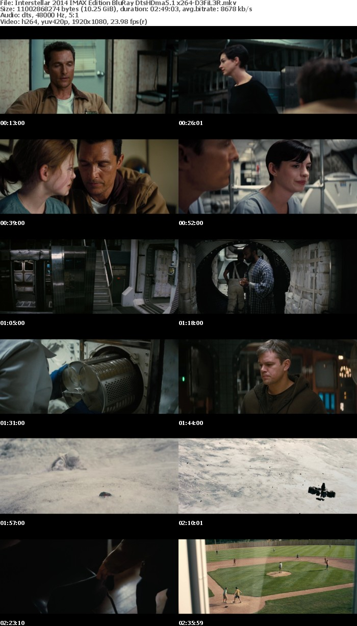 Interstellar 2014 IMAX Edition BluRay DtsHDma5 1 x264-D3FiL3R