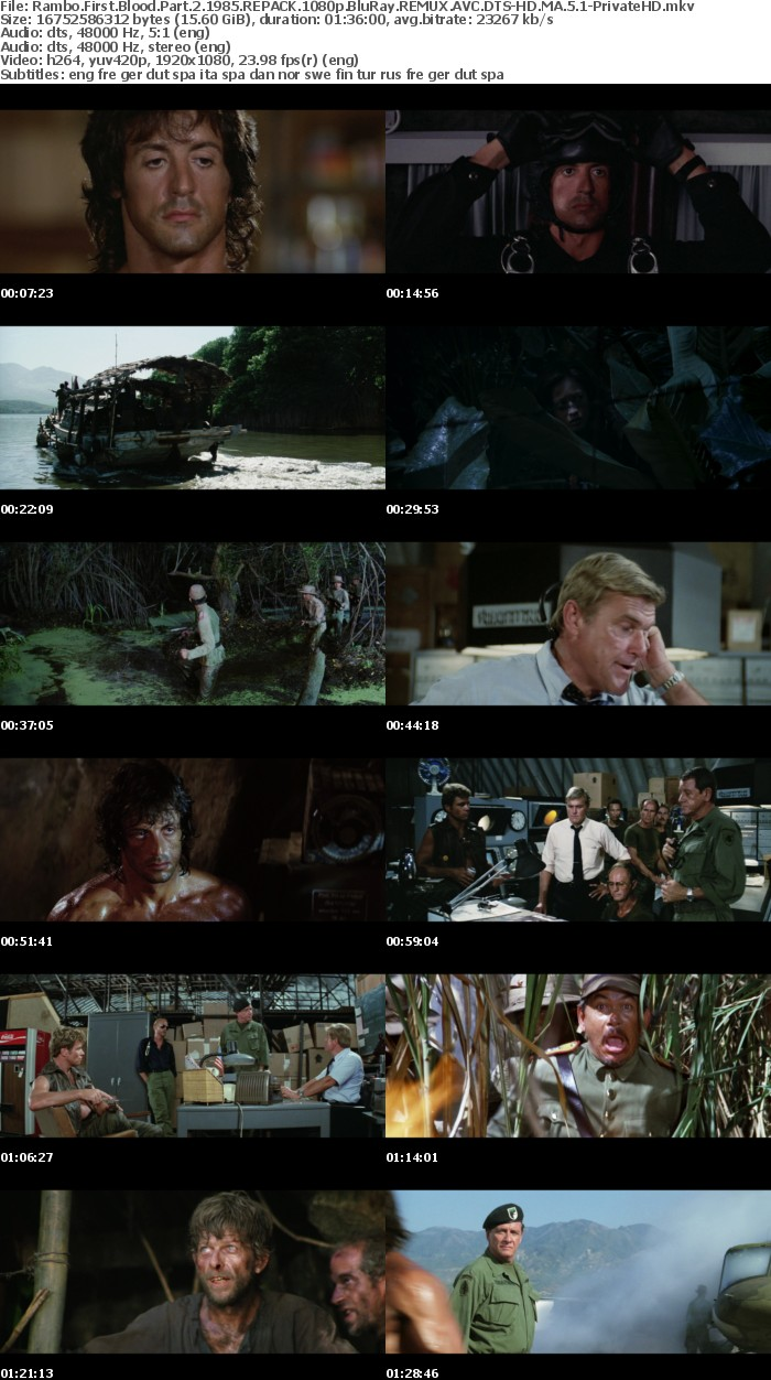Rambo First Blood Part 2 1985 REPACK 1080p BluRay REMUX AVC DTS-HD MA 5 1-PrivateHD