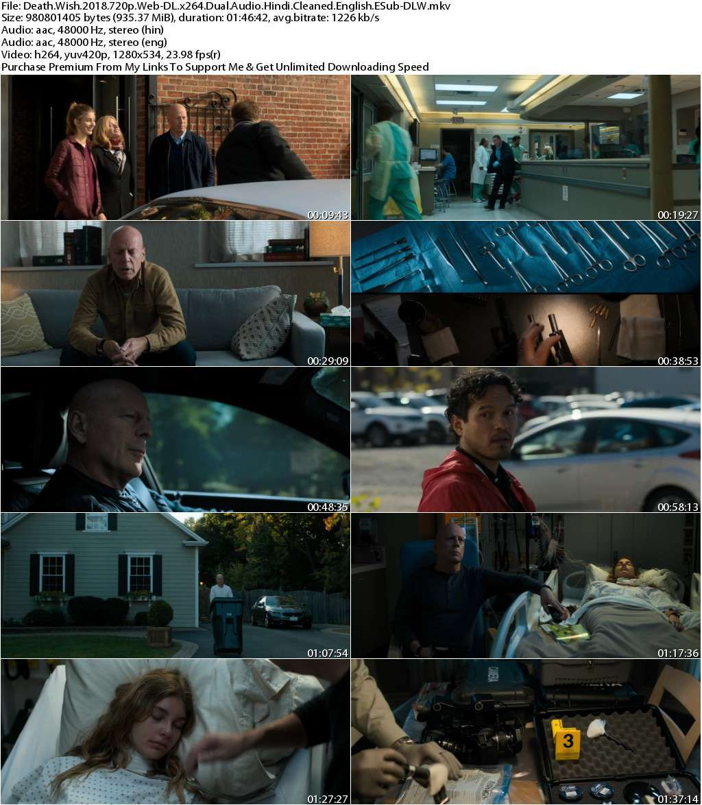 Death Wish (2018) 720p Web-DL x264 Dual Audio [Hindi Cleaned+English] ESub-DLW