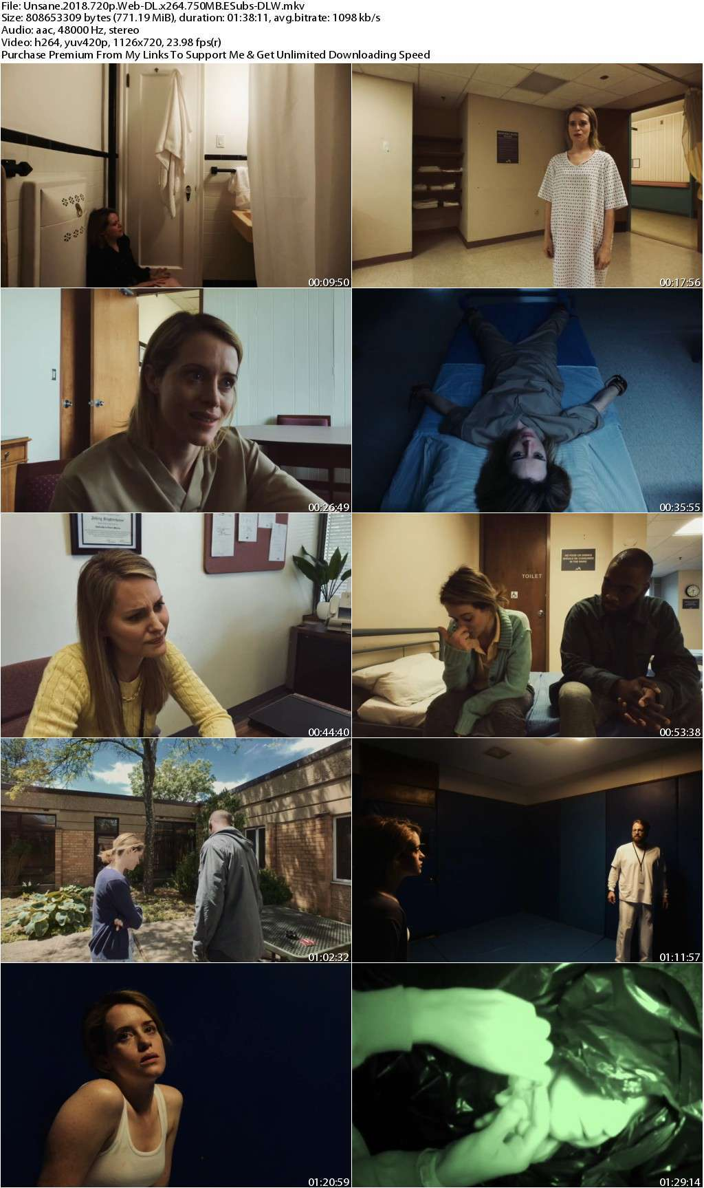 Unsane (2018) 720p WEB-DL x264 750MB ESubs-DLW