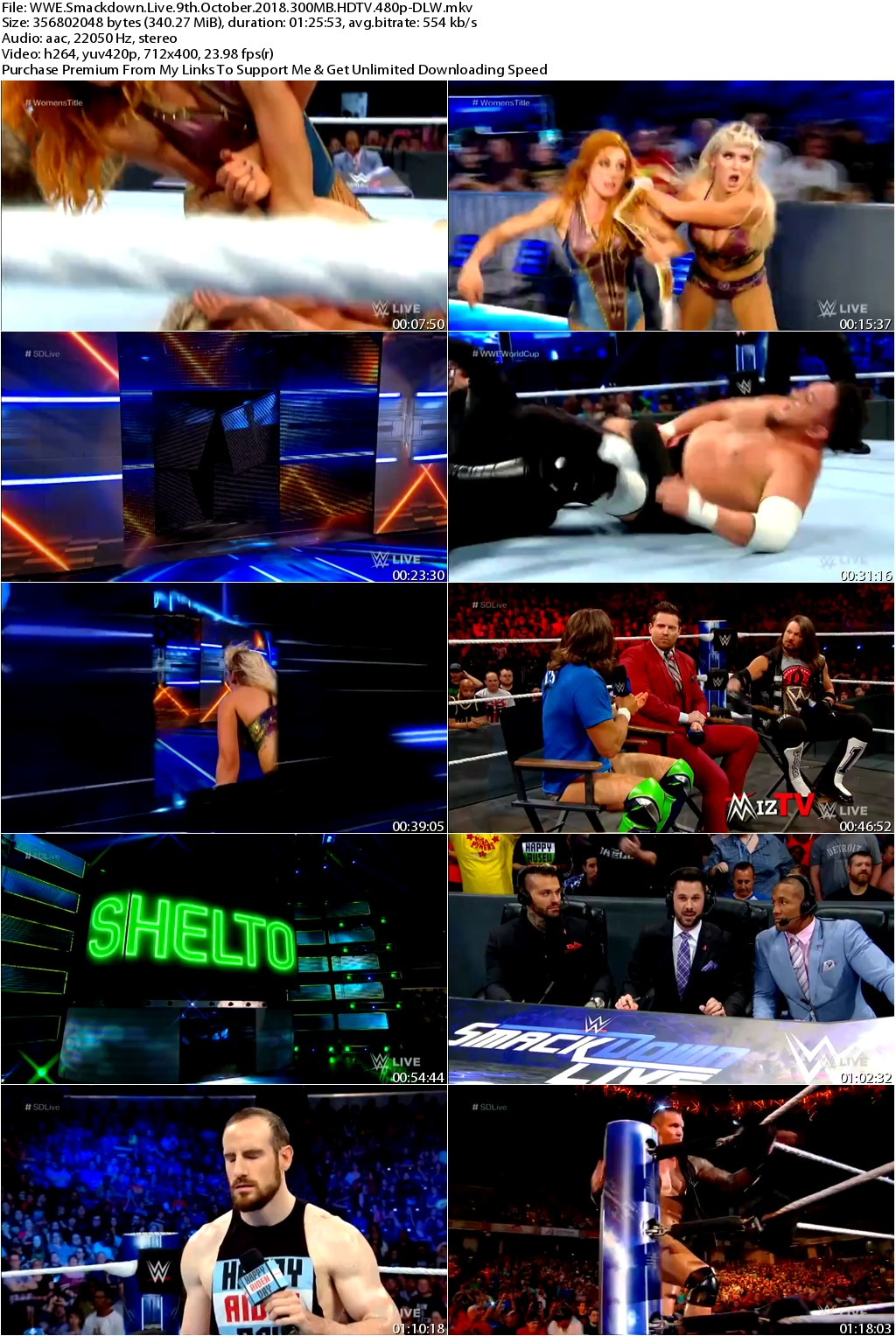 WWE Smackdown Live 9th October 2018 300MB HDTV 480p-DLW