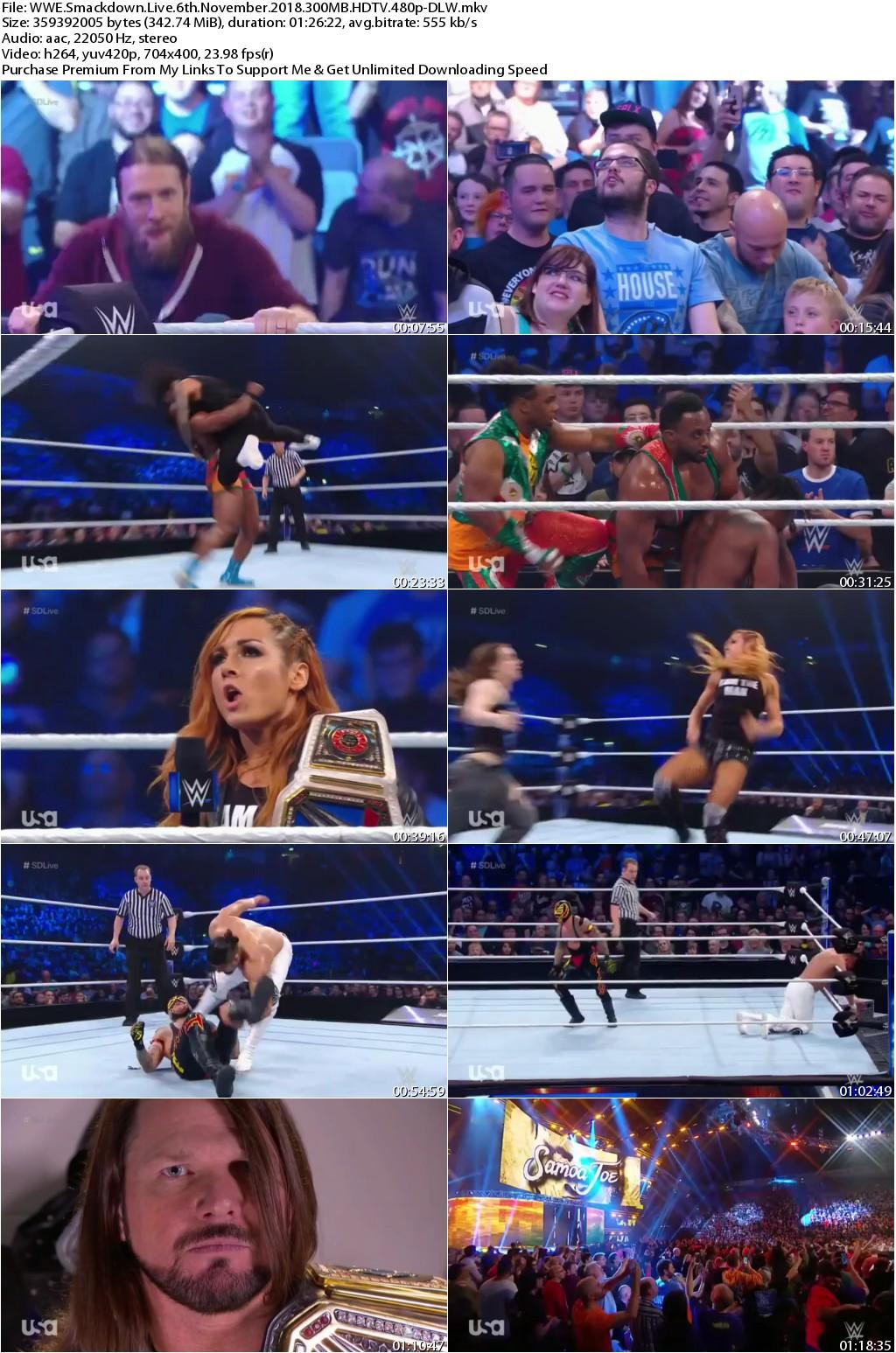 WWE Smackdown Live 6th November 2018 300MB HDTV 480p-DLW