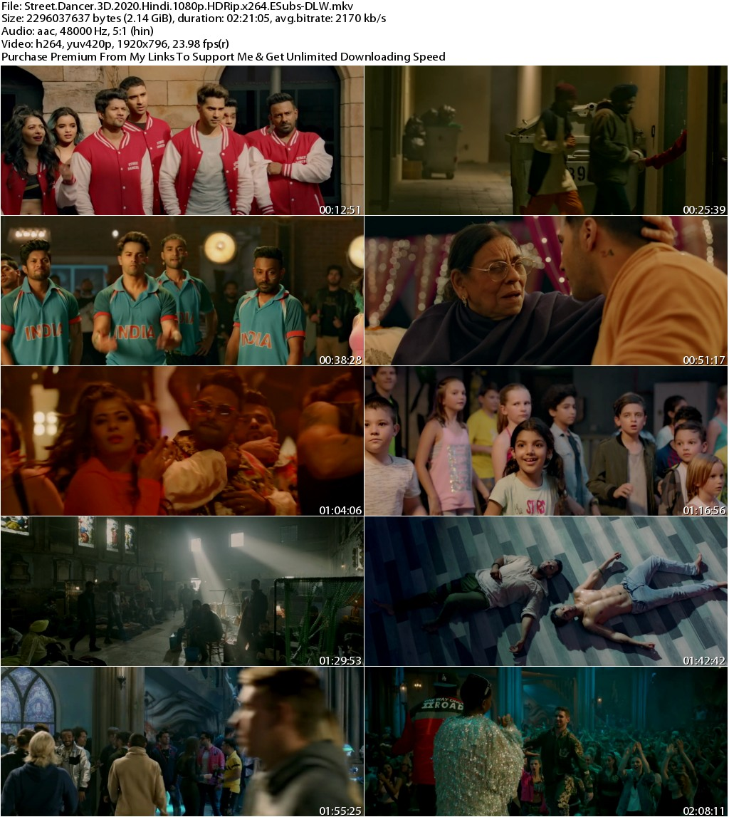 Street Dancer 3D (2020) Hindi 1080p HDRip x264 ESubs-DLW