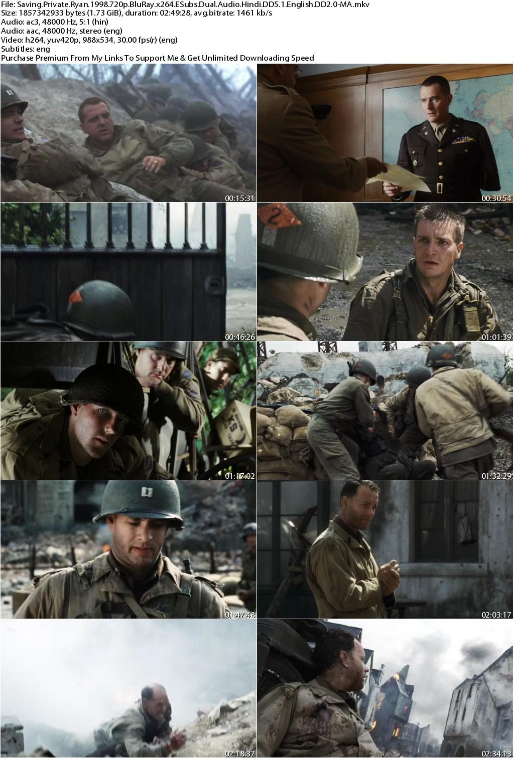 Saving Private Ryan (1998) 720p BluRay x264 ESubs Dual Audio Hindi DD5.1 English DD2.0-MA