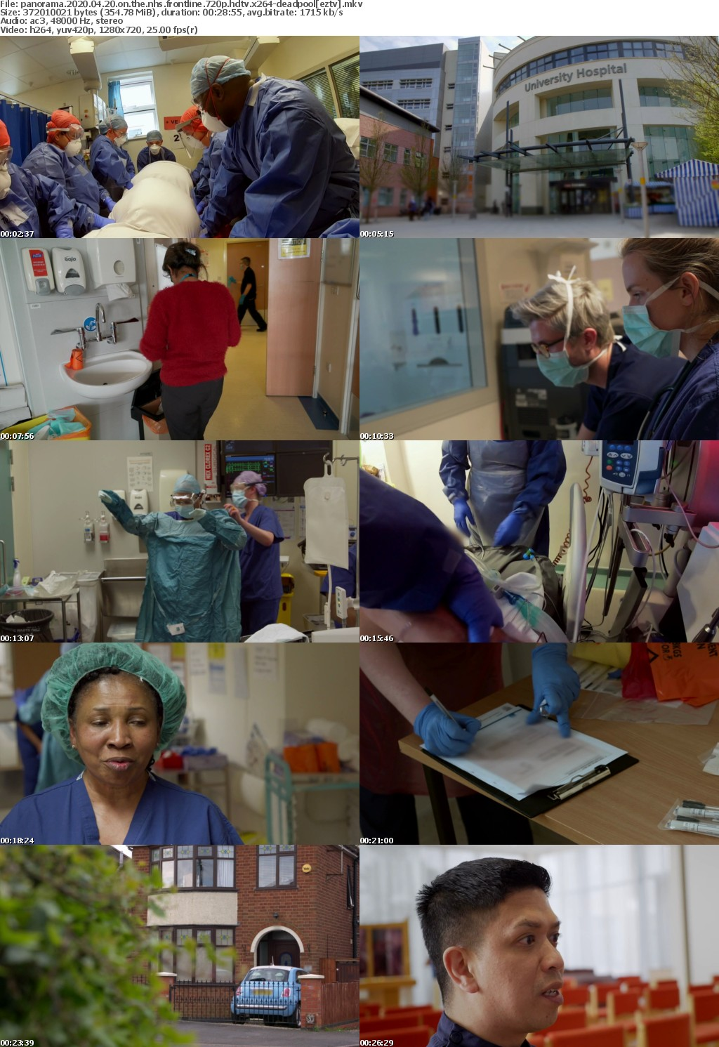 Panorama 2020 04 20 On The NHS Frontline 720p HDTV X264-DEADPOOL