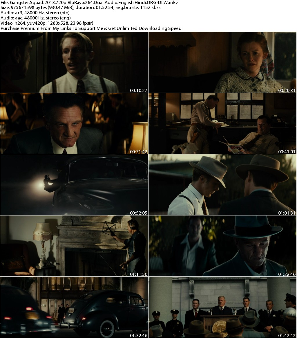 Gangster Squad (2013) 720p BluRay x264 Dual Audio English Hindi ORG-DLW