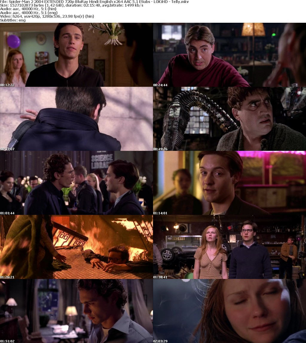 Spider-Man 2 (2004) EXTENDED 720p BluRay Hindi English x264 AAC 5.1 ESubs - LOKiHD - Telly