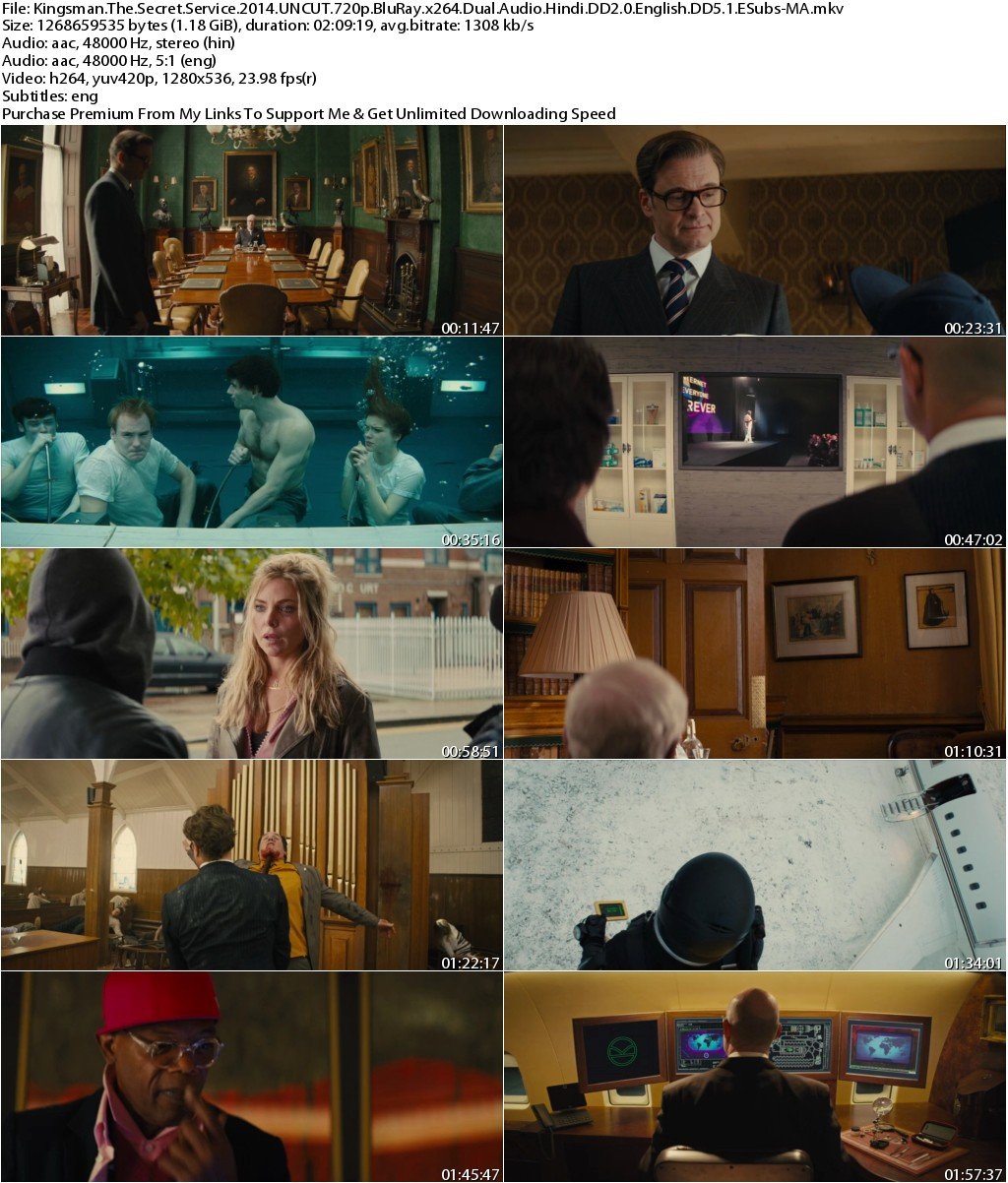 Kingsman The Secret Service (2014) UNCUT 720p BluRay x264 Dual Audio Hindi DD2.0 English DD5.1 ESubs-MA