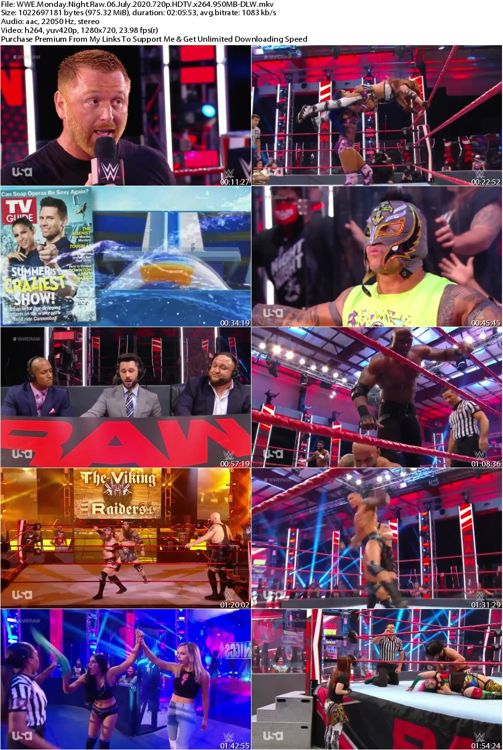WWE Monday Night Raw 06 July 2020 720p HDTV x264 950MB-DLW